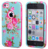 2in1 Combo Rose Flower Pattern TPU Case Hybrid Cover voor iPhone5 5s/5c