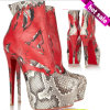 2014 o Most Red e Black Snake High Heels Shoes