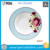 Plaque de floraison rouge de porcelaine de dîner de fleur