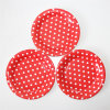 7 Plato de papel del partido, platos de papel DOT Ronda Polka Red para Party