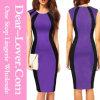 Платье MIDI Крив-Flattering черноты заплатки пурпуровое