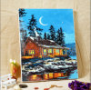 ChirstmasのためのNumbers著夜油絵の雪の油絵