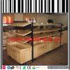 Estantes de la góndola del supermercado de la estructura del metal y de madera sólida
