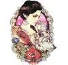 Etiqueta engomada temporal impermeable del tatuaje del lobo de la flor del buho de la belleza