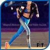 Frauen nehmen Capris Kontrast-Farben-Kreuz-Zeile Sport-Gamaschen ab