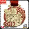 2017 Nuevo diseño del gallo Año medalla de oro 3D