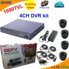 4 Kanal DVR Kit mit CMOS 1000tvl Dome Camera