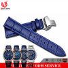 Correa de reloj italiana del cuero genuino de la insignia Vs-611 de la mariposa del modelo de bambú de encargo de la hebilla