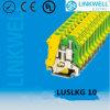 Montagem em trilho DIN Amarelo Verde Bloco de terminais terra / terra (LUSLKG 10)