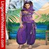 Señora púrpura traje atractivo de la danza del vientre