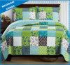 緑の陰によって印刷されるポリエステルパッチワーク様式のベッドカバーセット