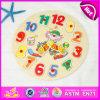 Sveglia di legno di puzzle dei 2015 capretti, gioco di legno di puzzle dell'orologio dei bambini, giocattolo di legno d'apprendimento educativo W14m077 di puzzle di tempo del pagliaccio