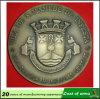 Emblema de cobre amarillo antiguo de la galjanoplastia para la compañía