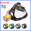 2クリー語T6 WhiteおよびBlue LED Rechargeable 18650 Zoomable 2000lm 4 Mode Bike Hunting Headlamp