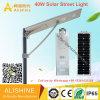 40W IP68 impermeabilizan la luz de calle solar integrada al aire libre del LED