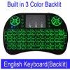 Mini I8 Touchpad teledirigido inglés-ruso puesto a contraluz 2.4GHz del teclado 3 color sin hilos para la PC androide TV elegante de la tablilla del rectángulo de la TV