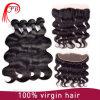 Fechamento frontal do laço das extensões brasileiras reais do cabelo humano do Virgin