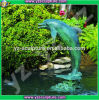 Fontaine d'eau de bronze de dauphin de jardin