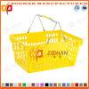 Panier à provisions en plastique de traitement de supermarché bon marché des prix double (Zhb31)
