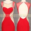 Robe de soirée rouge Backless de conception simple longue