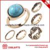 Juwelen 6PCS /Set van de douane plateerden de blauwe Reeks van de Ring van de Vrouwen van de Vinger van de Gem