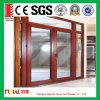 Puerta de oscilación de aluminio doble del vidrio Tempered, puerta del marco