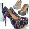 セクシーなGrey Leopard 16cm High Heel Pumps/Black Stripes Shoes
