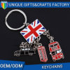 Personalizar o metal BRITÂNICO Keychain da liga do zinco da forma da bandeira