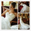 Nuevo Arrival White Satin Mermaid Sweetheart Lace encima de Back Chapel Train Appliqued Beaded Wedding Gowns 2014