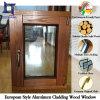 Roble sólido del estilo europeo/ventana de aluminio de madera de la teca/de pino