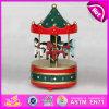 2015 mini juguete de madera, caja de música del carrusel, caja de música del paseo del caballo de Arousel, regalo decorativo W07b009b de la Navidad