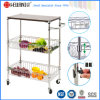 Restaurant commercial Chrome Metal Serving Basket Trolley pour Fruit/Vegetable