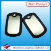 Etiquetas de perro de encargo del espacio en blanco del metal con el silicón de goma negro (LZY00133)