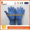 Голубые перчатки работы хлопка с миниыми многоточиями на персте Dcd309 ладони