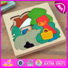 Cabritos Learn Toy Wooden Block Puzzle em um Wood Box, Colorful Wooden Cube Block Puzzle, Best Wooden Story Puzzle para Children W14A147