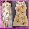 шелк 2015 70% и 30% Polyester Material сексуальное Women Sleeveless High Neck Floral Printed Formal Office Dress/Career Apparel (C-240)
