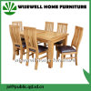 6脚の椅子(W-DF-9052)が付いているカシの木の家具の拡張可能な食事セット