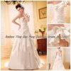 Nach Maß 2012 kräuselte neue Schulter der Art- und Weiseeins überlagertes Satin-Hochzeits-Kleid (BS-041)