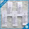 2017 escrituras de la etiqueta de cuidado del nuevo estilo que se lavan para los accesorios de la ropa