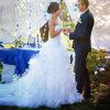 Los vestidos de boda calientes africanos de la venta de la sirena de boda de la alineada del amor de la cremallera de la parte posterior de los pescados de la cola de la falda multi sin mangas blanca de la capa casaron a muchachas modificadas para requisitos particulares hechas a Measur