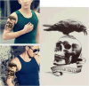 etiqueta engomada temporal impermeable del tatuaje del cráneo del águila de la manera
