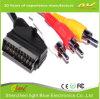 Черный цвет Scart к кабелю 3RCA