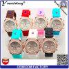 Reloj ocasional de las zonas horarias de señora Dress Watches More de la voga de las señoras Yxl-191 del diamante del silicón promocional del reloj