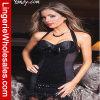 Ropa interior atractiva de la ropa de noche negra de los cequis de la manera