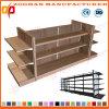 Stahl- und hölzerne Gondel-Doppelt-Seiten-Supermarkt-Regale (ZHs630)