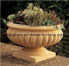 Bac de fleur jaune de grès pour le jardin/sculpture en pierre pour le jardin