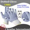 13G белый нейлон трикотажные перчатки с 2-х сторон синий ПВХ точек / EN388: 214X