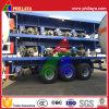 3半車軸40FT手段の高いベッドの容器の平面のトレーラー