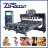 3D Wood Cutting CNC Machine met 8 Heads Spindle