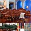 Sofá de la esquina de cuero con el marco de madera del sofá (D805)